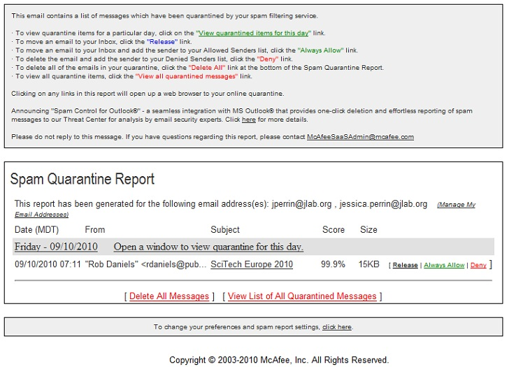email report spam: