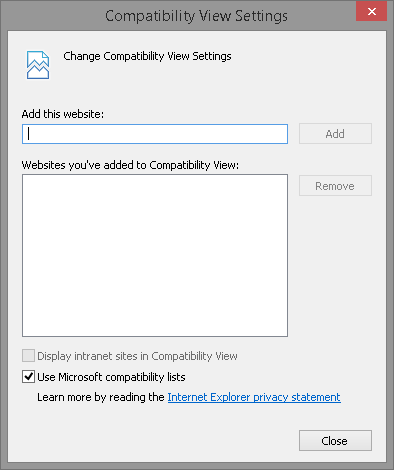Zimbra and Internet Explorer Compatibilitiy View Settings